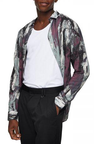 Men's Topman Slim Fit Abstract Paint Print Button-Up Shirt, Size Large - Purple