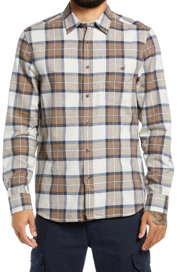 Men's Topman Slim Fit Check Button-Up Shirt, Size Small - Brown