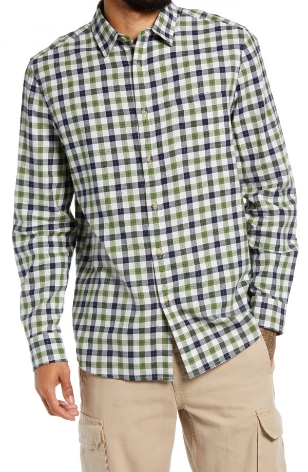 Men's Topman Slim Fit Gingham Check Button-Up Shirt, Size Large - Green