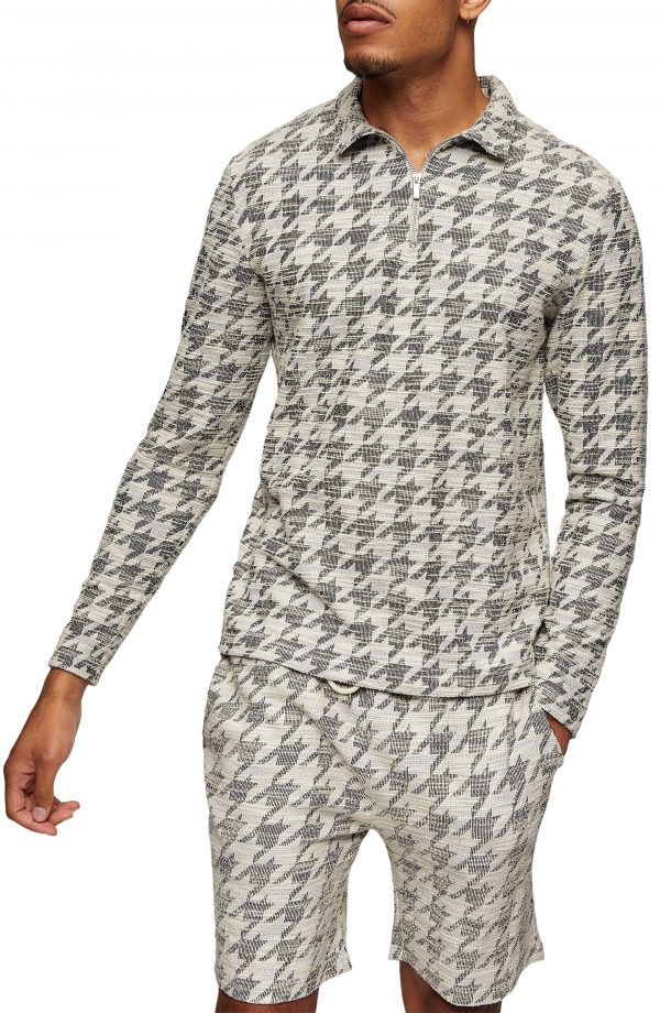 Men's Topman Slim Fit Houndstooth Shirt, Size Large - White