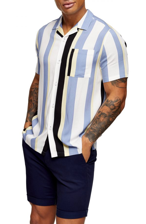 Men's Topman Slim Fit Stripe Short Sleeve Button-Up Camp Shirt, Size X-Small - White