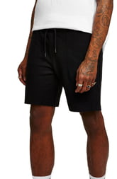 Men's Topman Slim Fit Twill Jersey Shorts, Size Large - Black