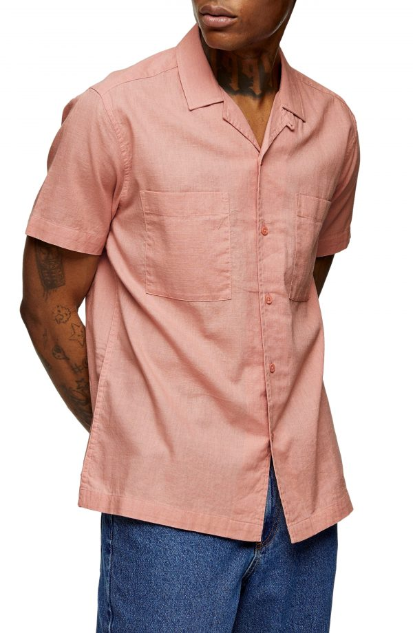 Men's Topman Slub Short Sleeve Button-Up Camp Shirt, Size Small - Pink