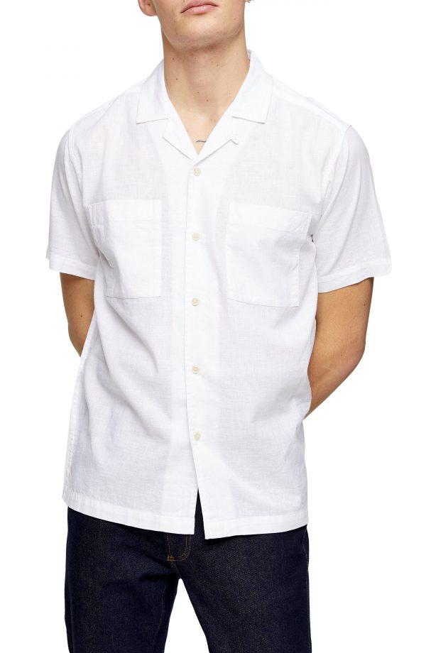 Men's Topman Slub Short Sleeve Button-Up Camp Shirt, Size X-Small - White