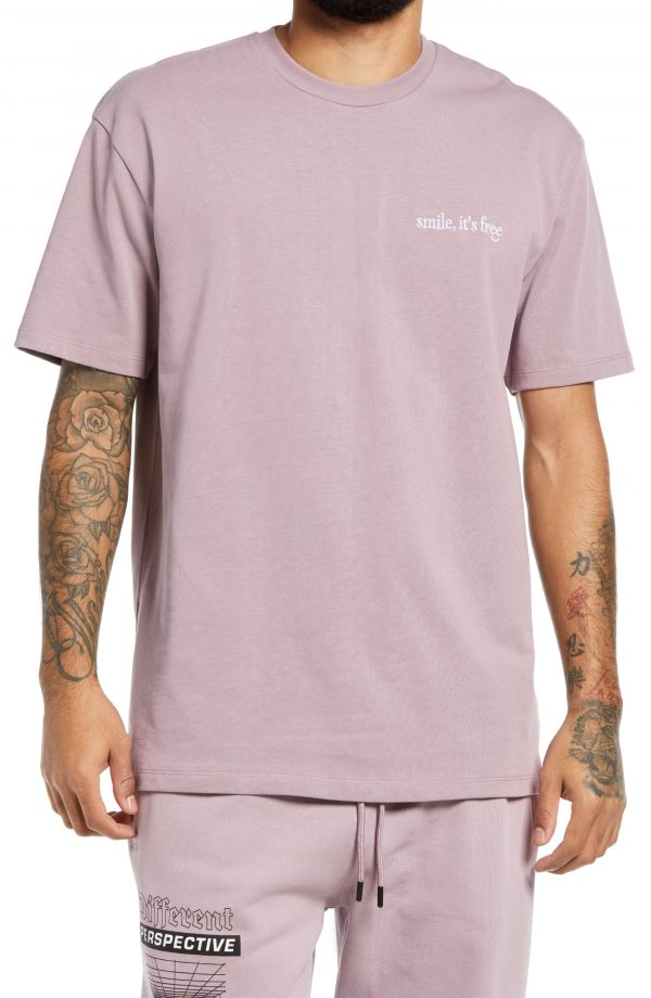 Men's Topman Smile Graphic Tee, Size Large - Purple