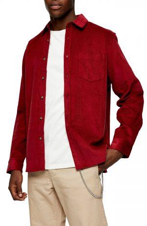 Men's Topman Solid Corduroy Button-Up Shirt, Size X-Small - Burgundy