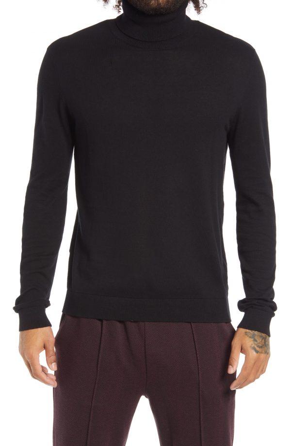 Men's Topman Solid Cotton Turtleneck Sweater, Size Large - Black