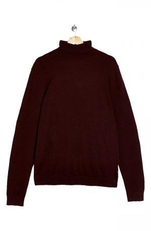Men's Topman Solid Cotton Turtleneck Sweater, Size Large - Burgundy