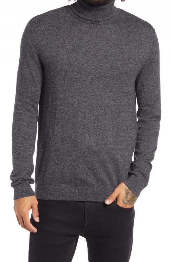 Men's Topman Solid Cotton Turtleneck Sweater, Size Large - Grey