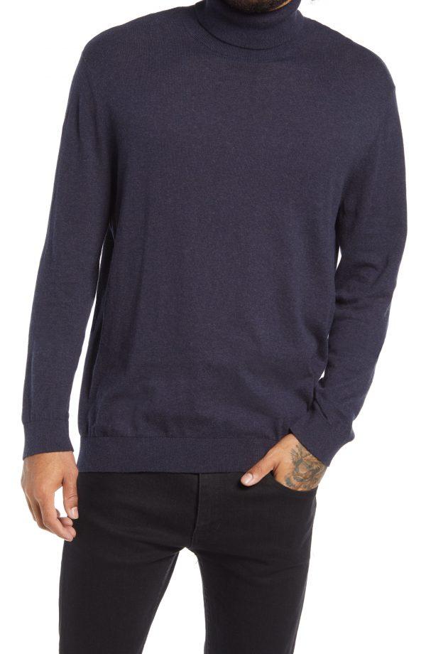 Men's Topman Solid Cotton Turtleneck Sweater, Size Medium - Blue