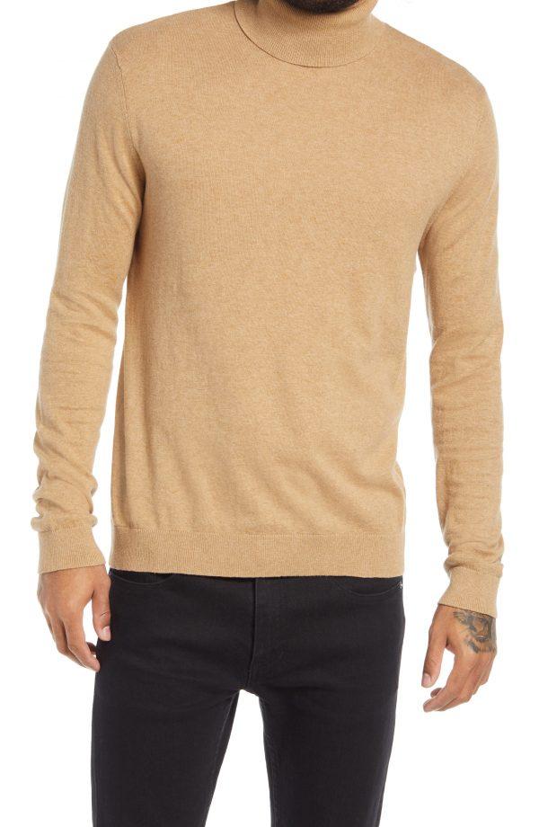Men's Topman Solid Cotton Turtleneck Sweater, Size Small - Beige