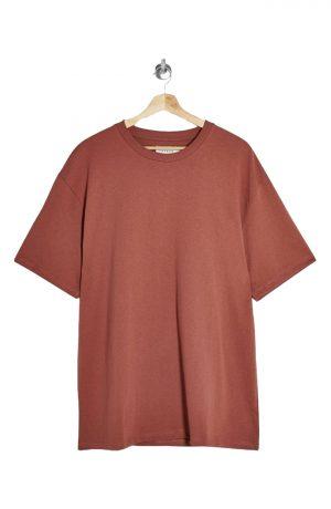Men's Topman Solid Crewneck T-Shirt, Size Large - Burgundy
