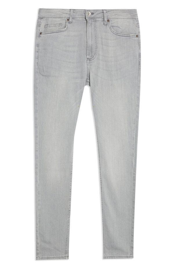 Men's Topman Spray On Skinny Jeans, Size 32 x 34 - Grey