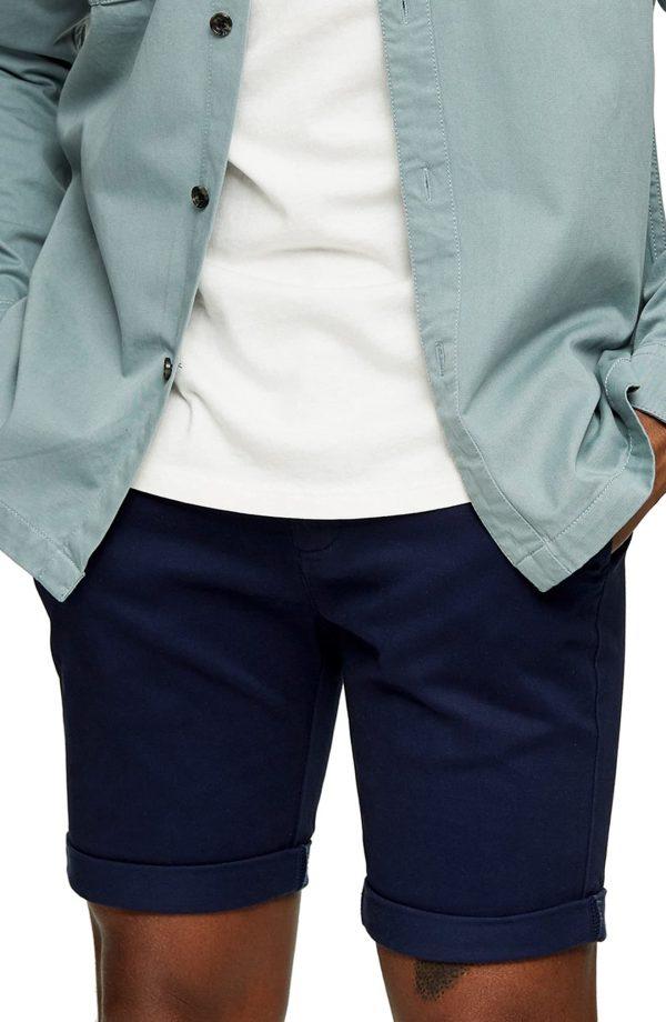 Men's Topman Stretch Skinny Chino Shorts, Size 28 - Blue