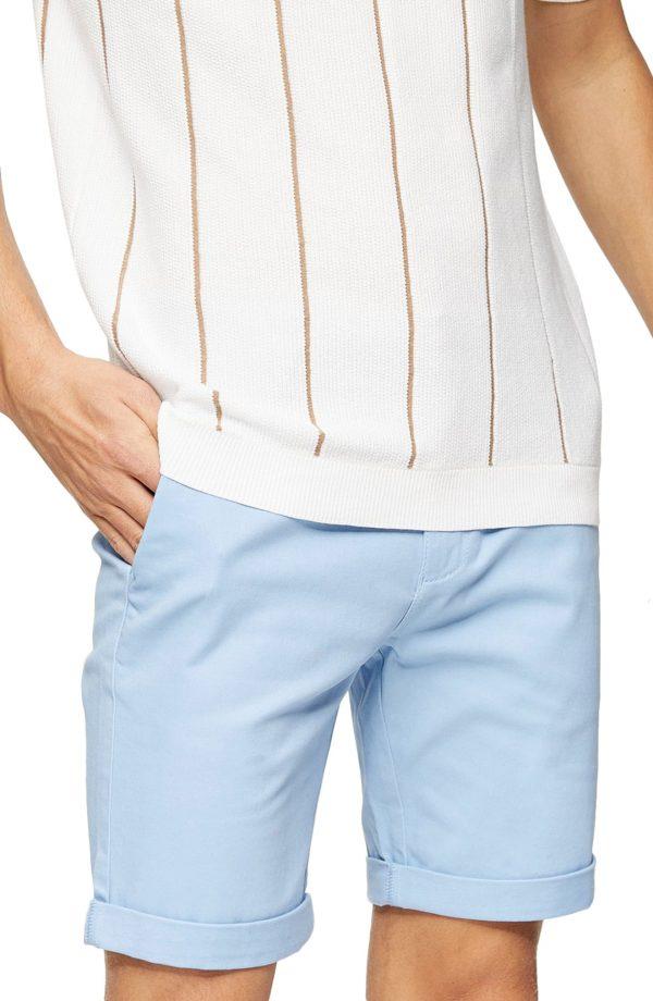 Men's Topman Stretch Skinny Chino Shorts, Size 30 - Blue