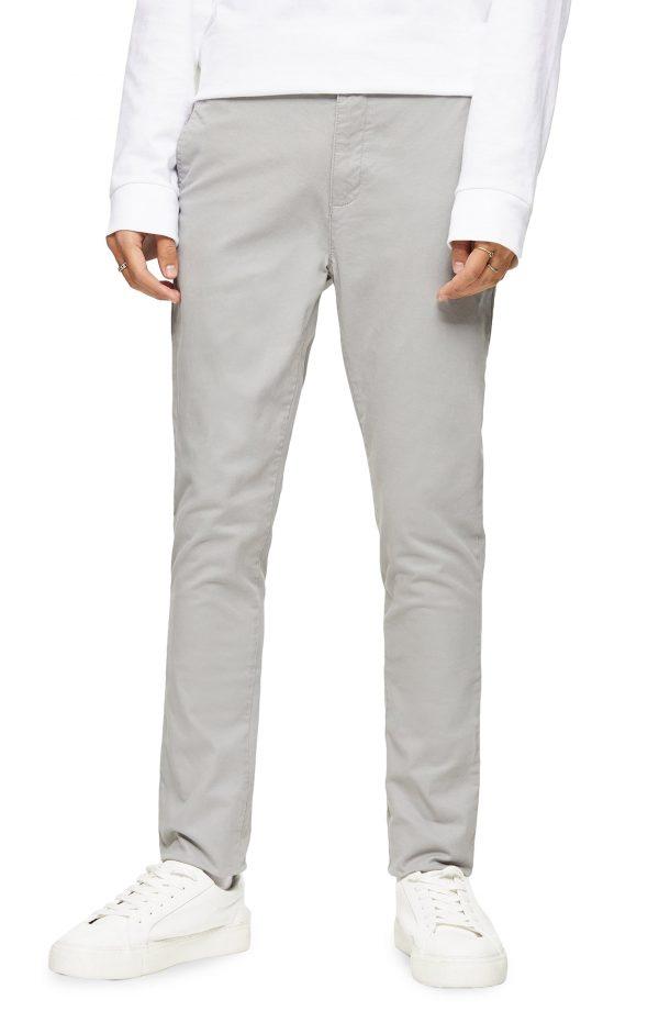 Men's Topman Stretch Skinny Fit Chinos, Size 34 x 32 - Grey