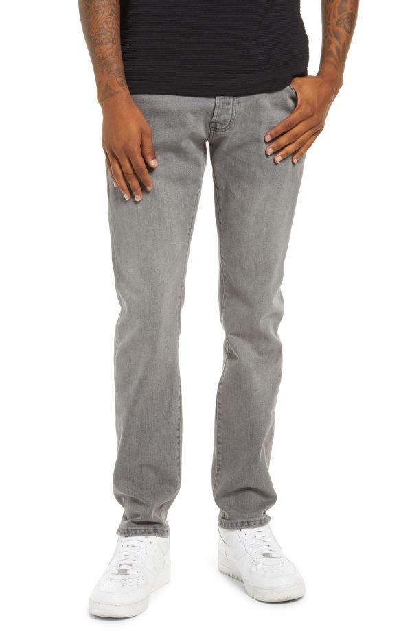 Men's Topman Stretch Tapered Slim Fit Jeans, Size 28 x 32 - Grey