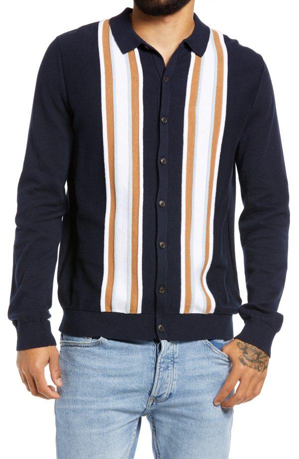 Men's Topman Stripe Button-Up Sweater, Size Medium - Blue
