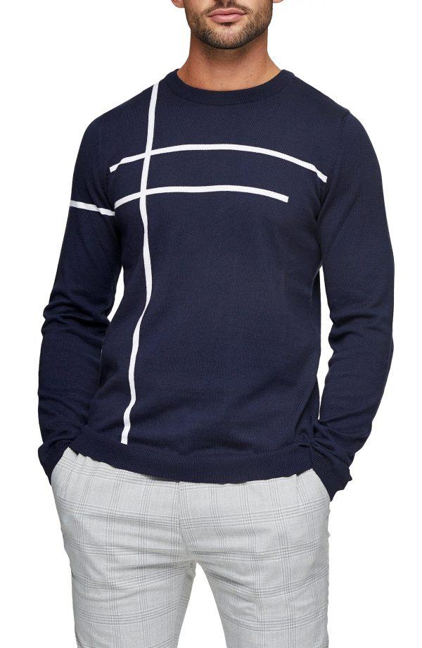 Men's Topman Stripe Crewneck Sweater, Size Medium - Blue