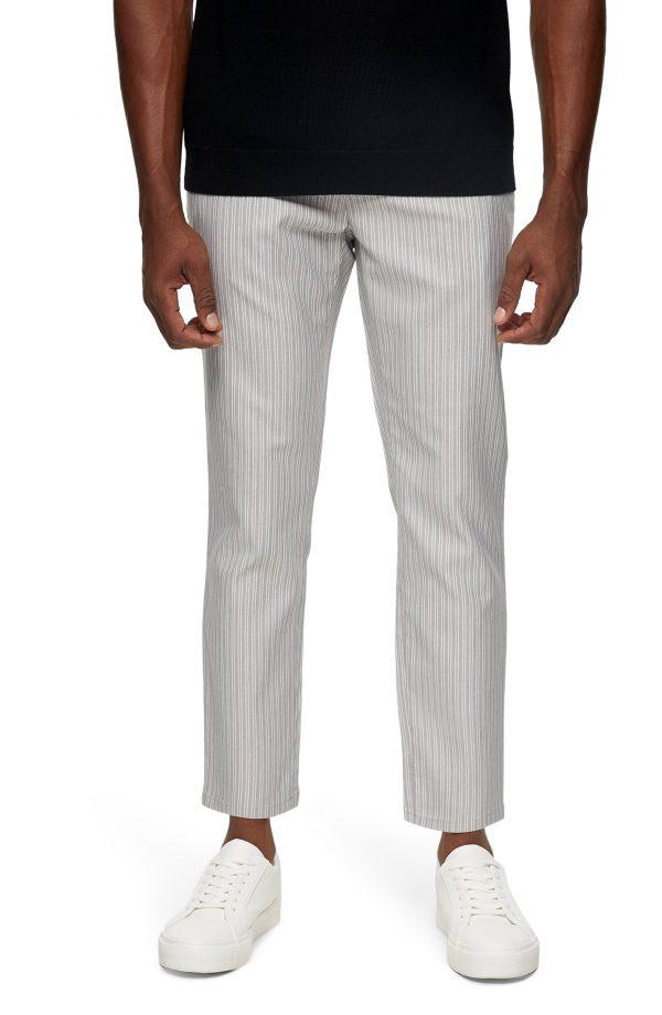 Men's Topman Stripe Joggers, Size 28 x 32 - Grey