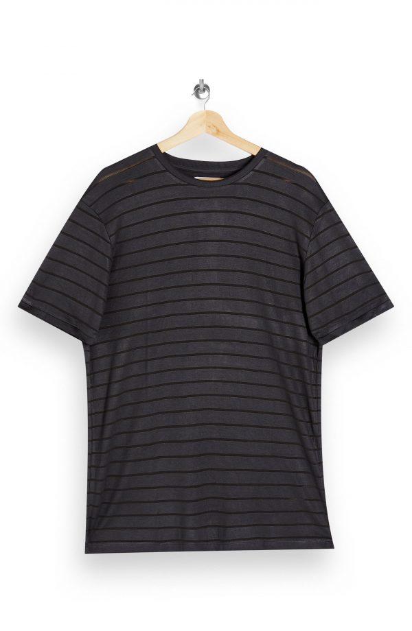 Men's Topman Stripe T-Shirt, Size Medium - Grey