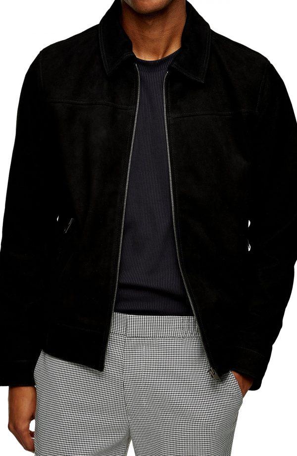 Men's Topman Suede Harrington Jacket, Size Large - Black