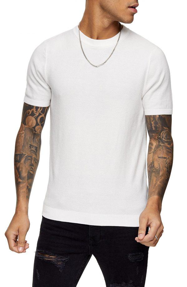 Men's Topman Sweater Knit T-Shirt, Size Large - Ivory