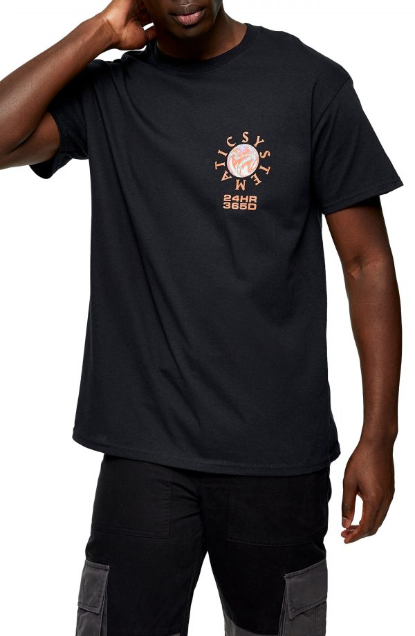 Men's Topman System Graphic Tee, Size Small - Black