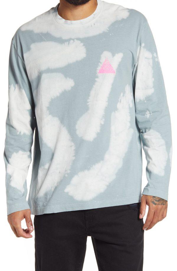 Men's Topman Tie Dye Long Sleeve T-Shirt, Size Large - Blue