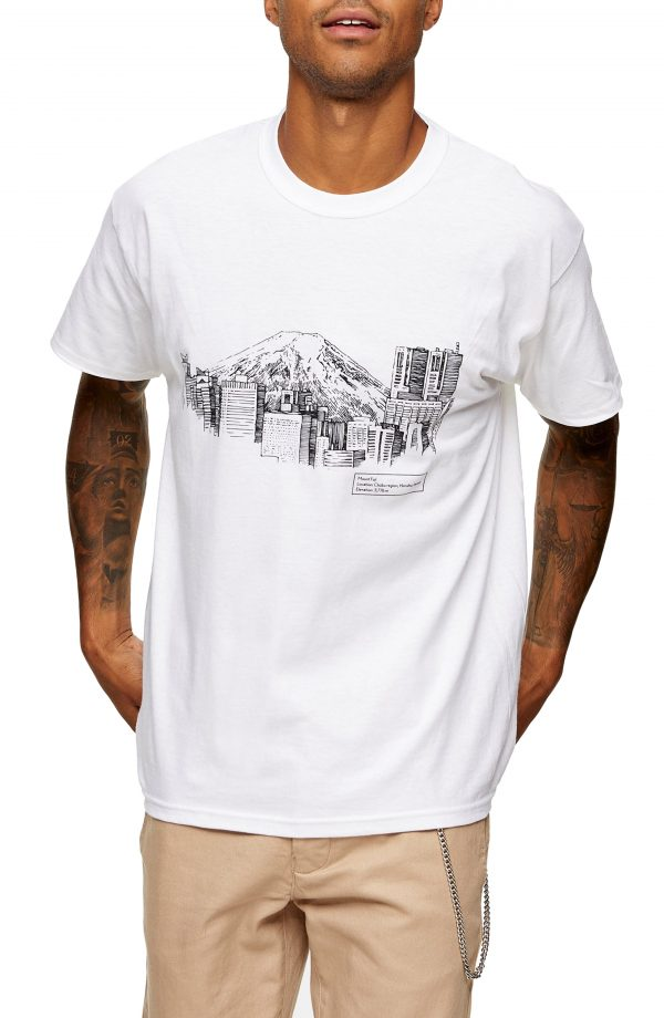 Men's Topman Town Sketch Graphic Tee, Size Large - White