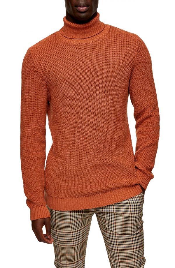 Men's Topman Turtleneck Sweater, Size Small - Orange