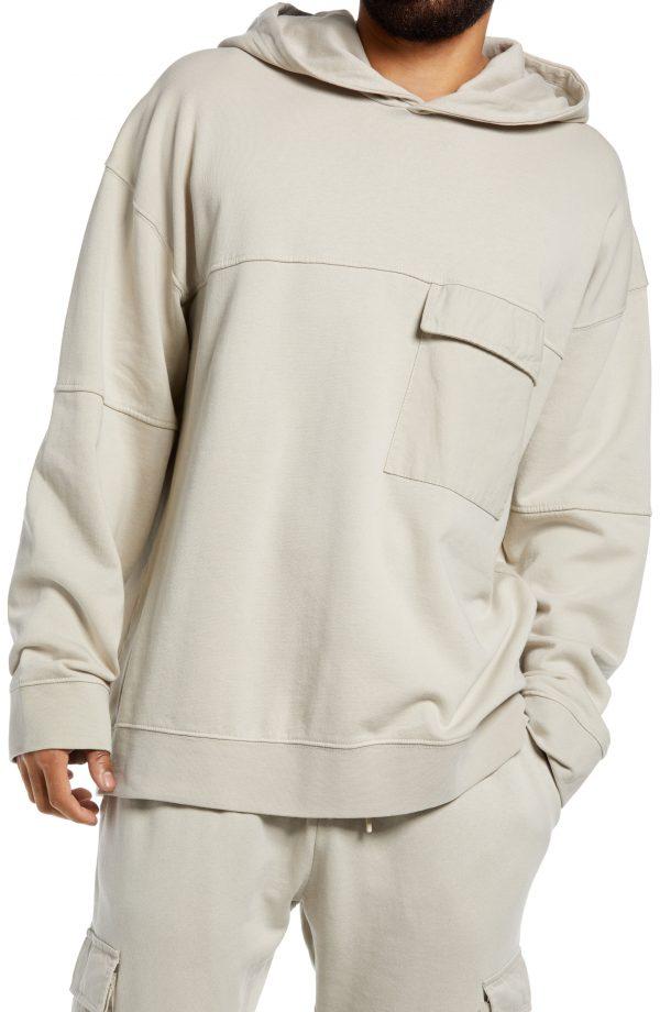 Men's Topman Twill Cargo Pocket Hoodie, Size Small - Beige