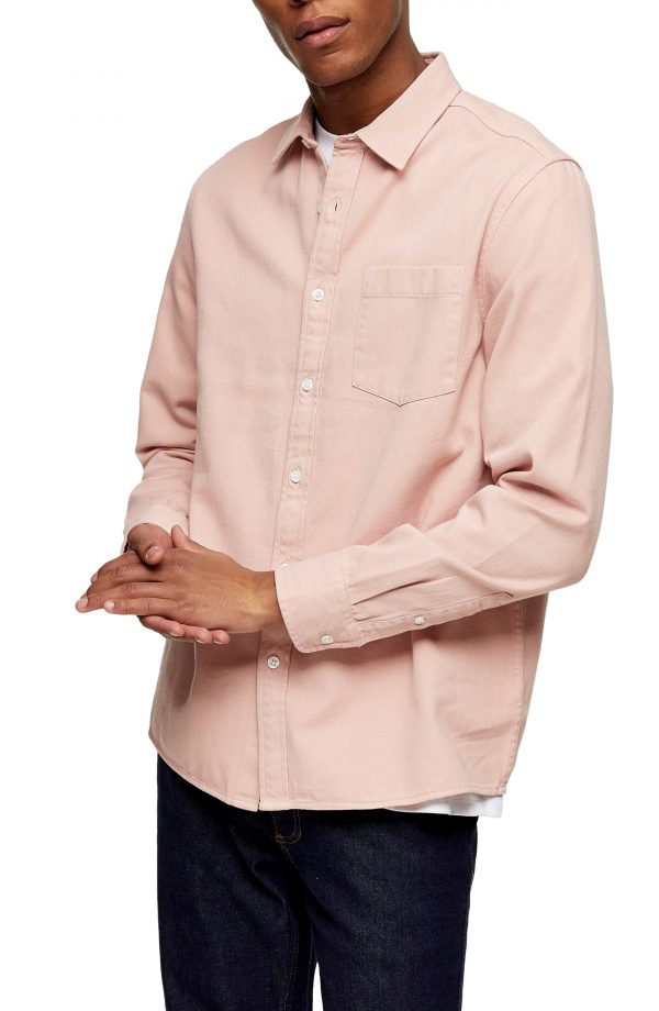Men's Topman Twill Slim Fit Button-Up Shirt, Size Large - Pink