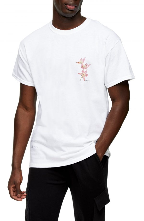 Men's Topman Twin Lily Graphic Tee, Size Large - White