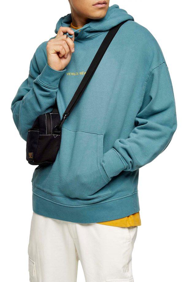 Men's Topman Venice Beach Washed Hooded Sweatshirt, Size Medium - Green