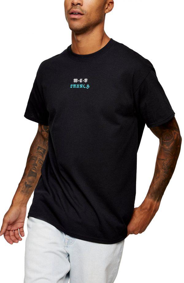 Men's Topman Vertical Text Graphic Tee, Size Large - Black