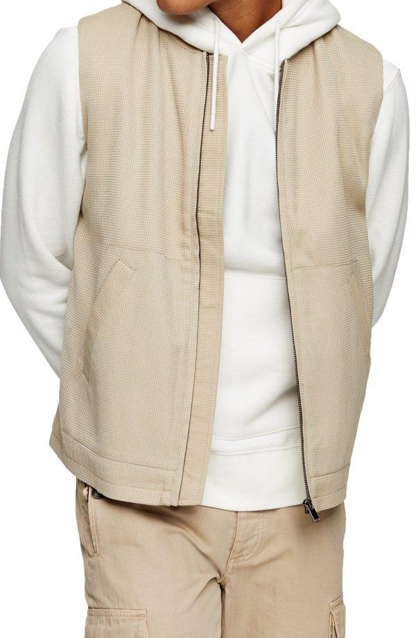Men's Topman Waffle Gilet Vest, Size Small - Beige