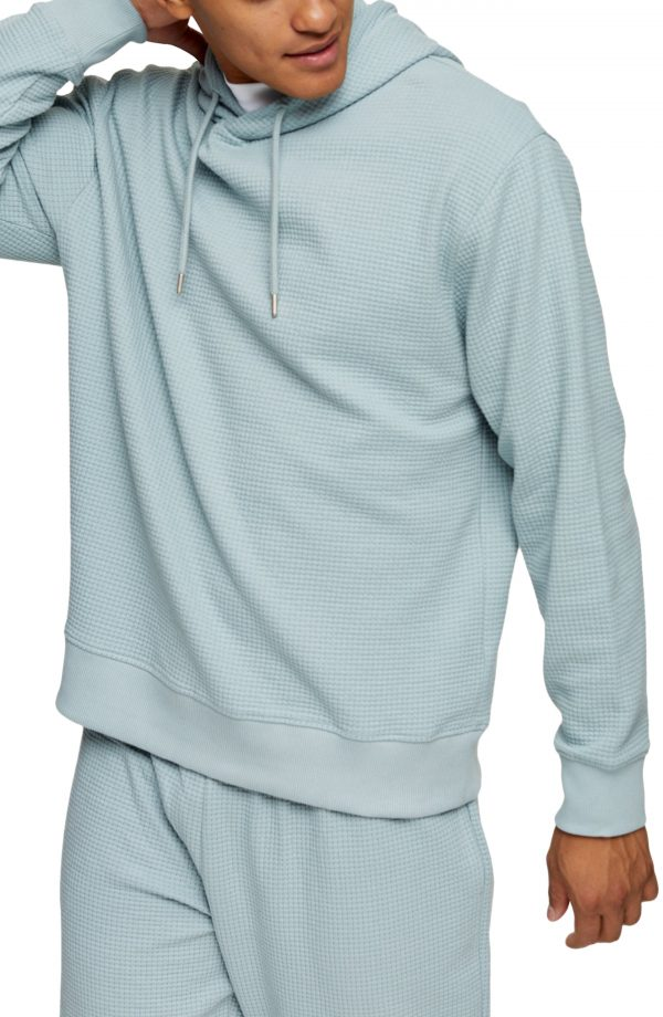 Men's Topman Waffle Stitch Pullover Hoodie, Size Small - Blue