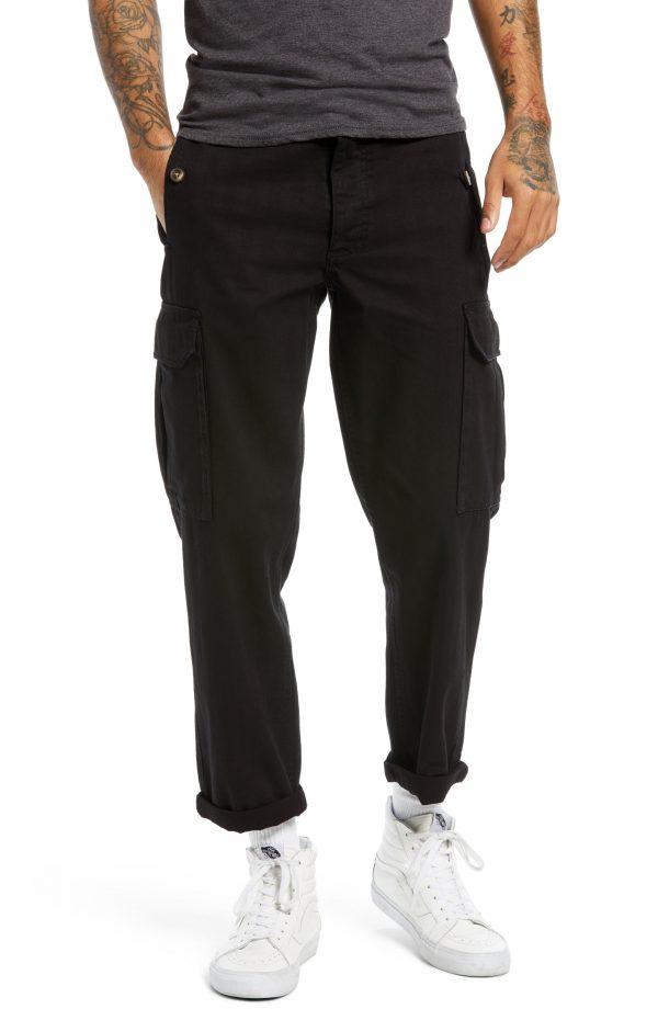 Men's Topman Wide Leg Cargo Pants, Size 28 x 32 - Black