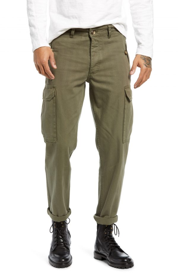 Men's Topman Wide Leg Cargo Pants, Size 34 x 30 - Green