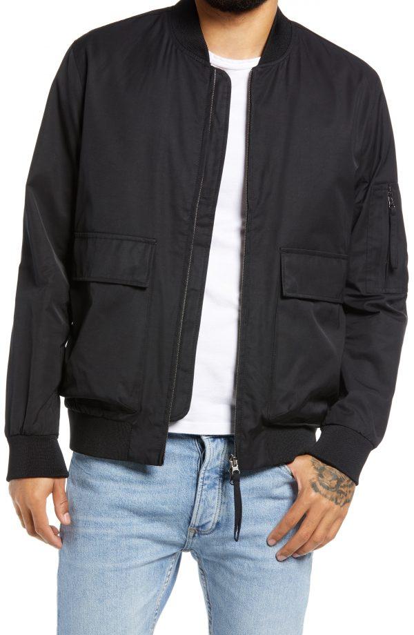 Men's Topman Wilt Bomber Jacket, Size Large - Black