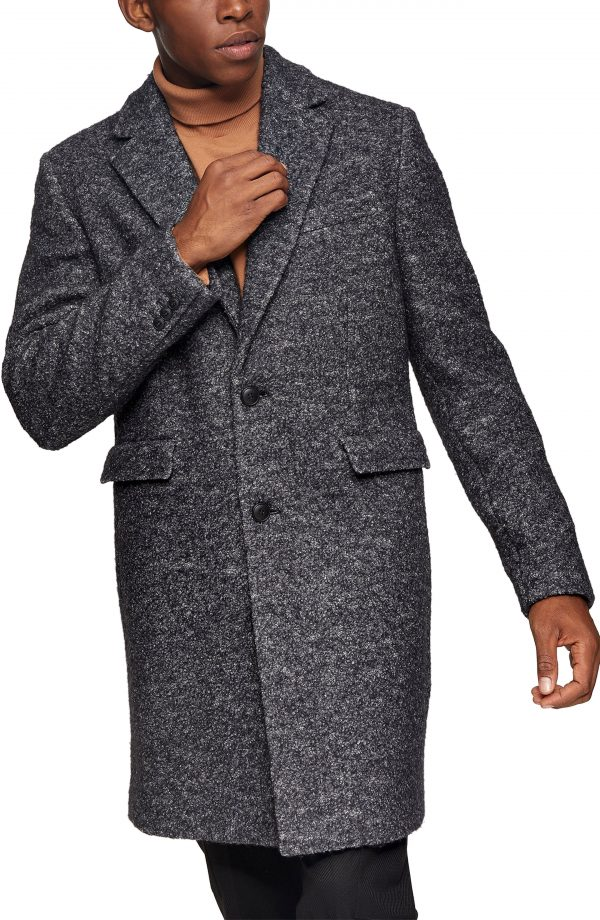 Men's Topman Wool Blend Overcoat, Size Large - Black