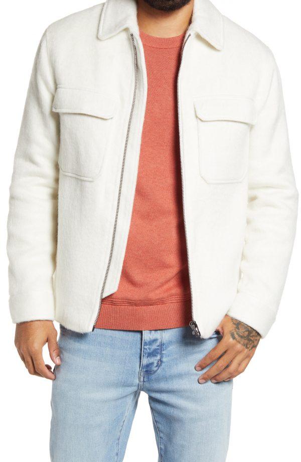 Men's Topman Wool Short Jacket, Size Large - White