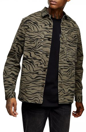 Men's Topman Zebra Print Overshirt, Size Large - Green