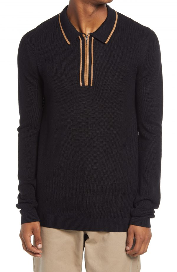 Men's Topman Zip Long Sleeve Polo Shirt, Size X-Small - Black