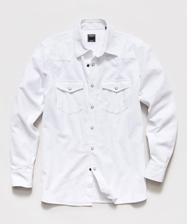 Micro Corduroy Western Shirt in White