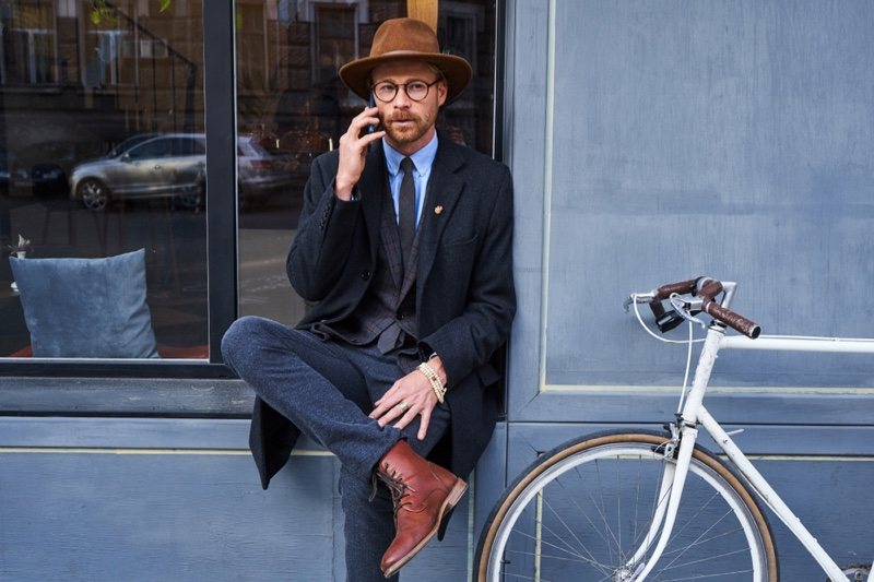 Outside Man Suit Bike Hat Boots Outfit