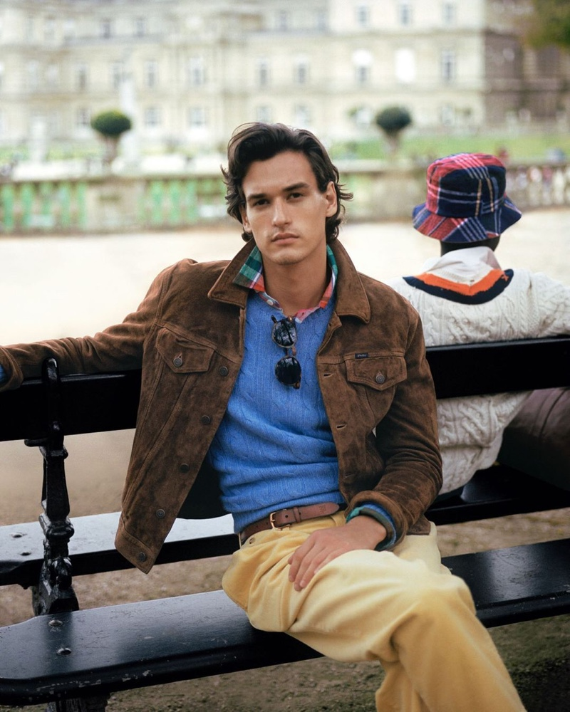 A chic vision, Jegor Venned models menswear from POLO Ralph Lauren's Heritage Icons collection.