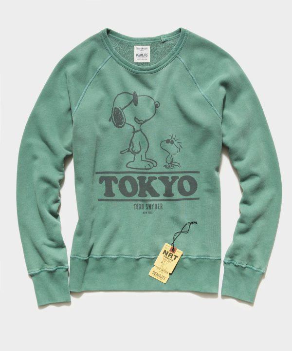 Peanuts City Collection Tokyo Crewneck Sweatshirt in Green