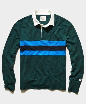 Pieced Striped Rugby in Green